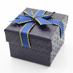 Коробочка чёрно-синяя для кольца-серег 1020, размер 5*5 см