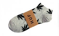 Мужские серые носки HUF с черным листом конопли ОРИГИНАЛ (Хаф) Низкие (Короткие) с листом конопли (Шкарпетки Жіночі / Чоловічі), фото 2