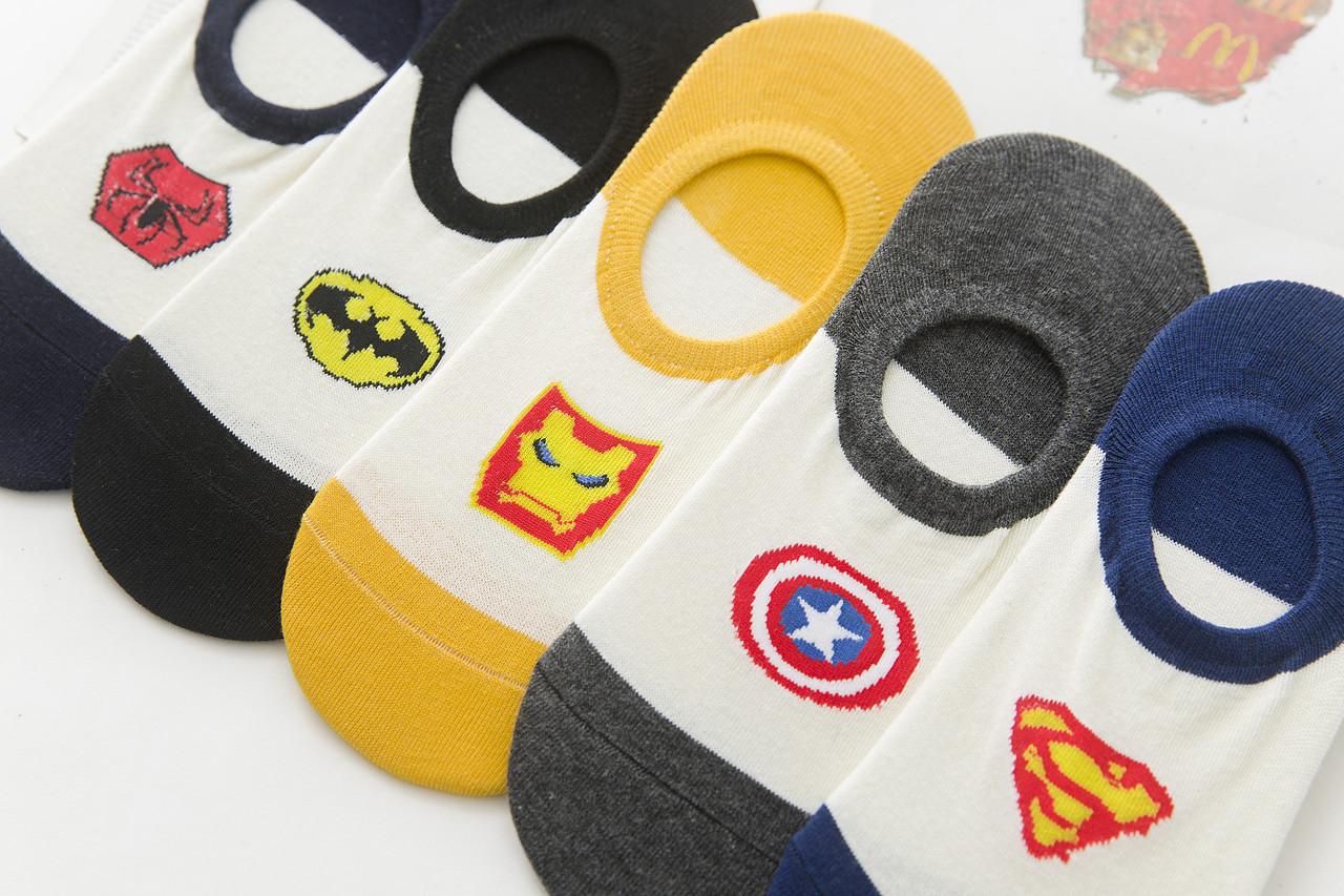 Комплект (5 пар) коротких носков с силиконовым фиксатором на пятке. Набор носков Размер 36-41