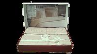 Постельное белье Nazenin сатин с кружевом Dantel капучино евро размера