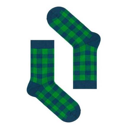 Синие мужские носки в зеленую клетку. ТМ SOX, фото 2