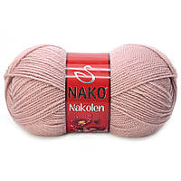 Пряжа Nako Nakolen 10275 розовая пудра (нитки для вязания Нако Наколен) полушерсть 49% шерсть, 51% акрил