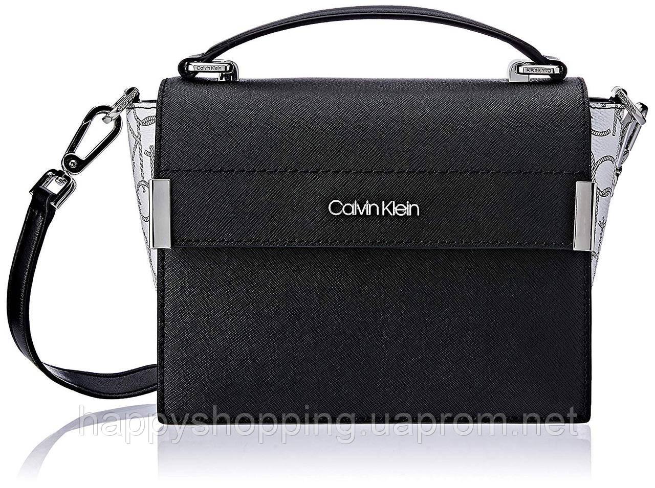 Женская оригинальная черная сумочка  из сафьяновой кожи  Calvin Klein