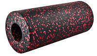 Ролик  для йоги, фітнесу, пілатесу, кросфіту, масажний валик  чорно-червоний