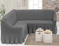 Угловой натяжной чехол на диван накидка Hommy Turkey, универсальный размер, разные цвета