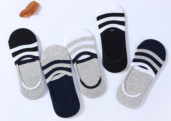 Комплект (5 пар) носков-следов в полоску с силиконовым фиксатором на ноге и фиксатором на пятке. Набор носков Размер 36-41