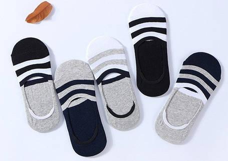 Комплект (5 пар) носков-следов в полоску с силиконовым фиксатором на ноге и фиксатором на пятке. Набор носков Размер 36-41, фото 2