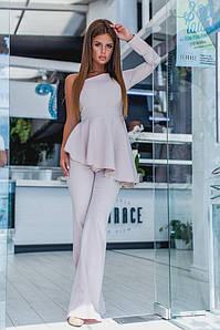 """Элегантный женский костюм-двойка """"Candice"""" брюки-клёш и блуза с одним рукавом (2 цвета)"""
