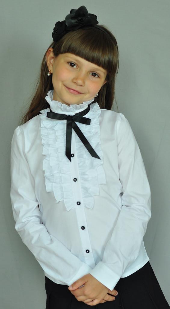 Школьная нарядная блузка Свит блуз арт. 2071д с рюшами и чёрной лентой р.122