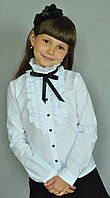 Школьная нарядная блузка Свит блуз арт. 2071д с рюшами и чёрной лентой р.122, фото 1