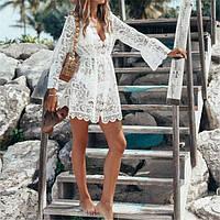 Пляжное платье туника накидка на купальник, шифон рубашка халат парео