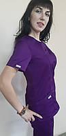Женский хирургический костюм Классик коттон короткий рукав 42, фиолетовый