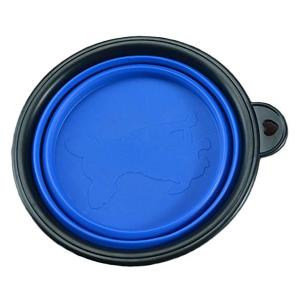 Силиконовая дорожная миска для животных Zizi 13 см синяя