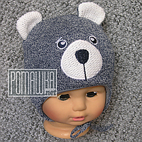 Вязаная шапочка осень весна р 36-40 0-5 мес на мальчика новорожденных малышей осенняя весенняя 4813 Синий 38, фото 1