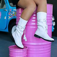 Белые кожаные сапоги фабричная обувь, фото 1