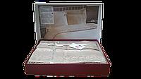 Постельное белье Nazenin сатин с кружевом Milena капучино евро размера