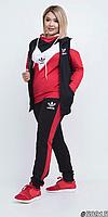 Женский спортивный костюм-тройка жилет+кофта+брюки в большом размере Размеры 48-50, 52-54