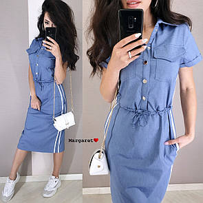 Коттоновое платье - рубашка на пуговицах и с резинкой на талии 9py3322