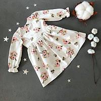 Дитяче біле плаття з довгим рукавом для дівчаток