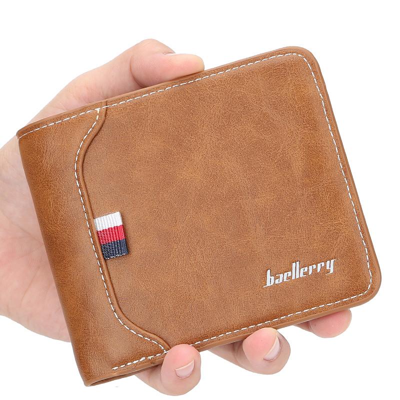 Чоловічий гаманець BAELLERRY D1308 Fashion Short портмоне Світло-Коричневий (SUN5127)