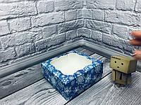 Коробка под зефир / *h=6* / 150х150х60 мм / печать-Снег.Син / окно-обычн / НГ, фото 1