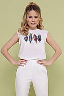Белая женская футболка без рукавов с принтом, фото 1
