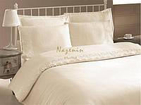 Постельное белье Nazenin сатин с кружевом Milena кремовое евро размера