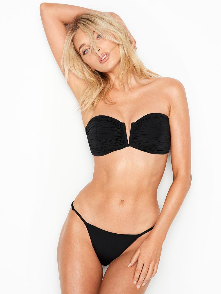 Victoria's Secret Купальник Ruched V-Front Bandeau& High-Leg Thong Черный / S