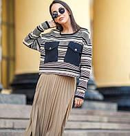 Вязанный женский укороченный пуловер «Санти»