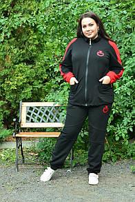 Женский спортивный костюм в больших размерах с кофтой на молнии и штанами на манжетах 10ba2084