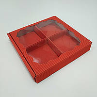 Коробка для пряників, цукатів з вікном та ложементом червона 200х200х30 мм.