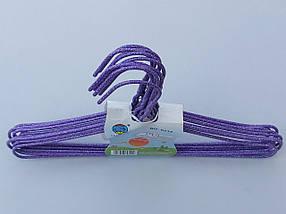 Плічка дитячі дріт в порошкового фарбування фіолетового кольору, довжина 29 см, в упаковці 10 штук, фото 2