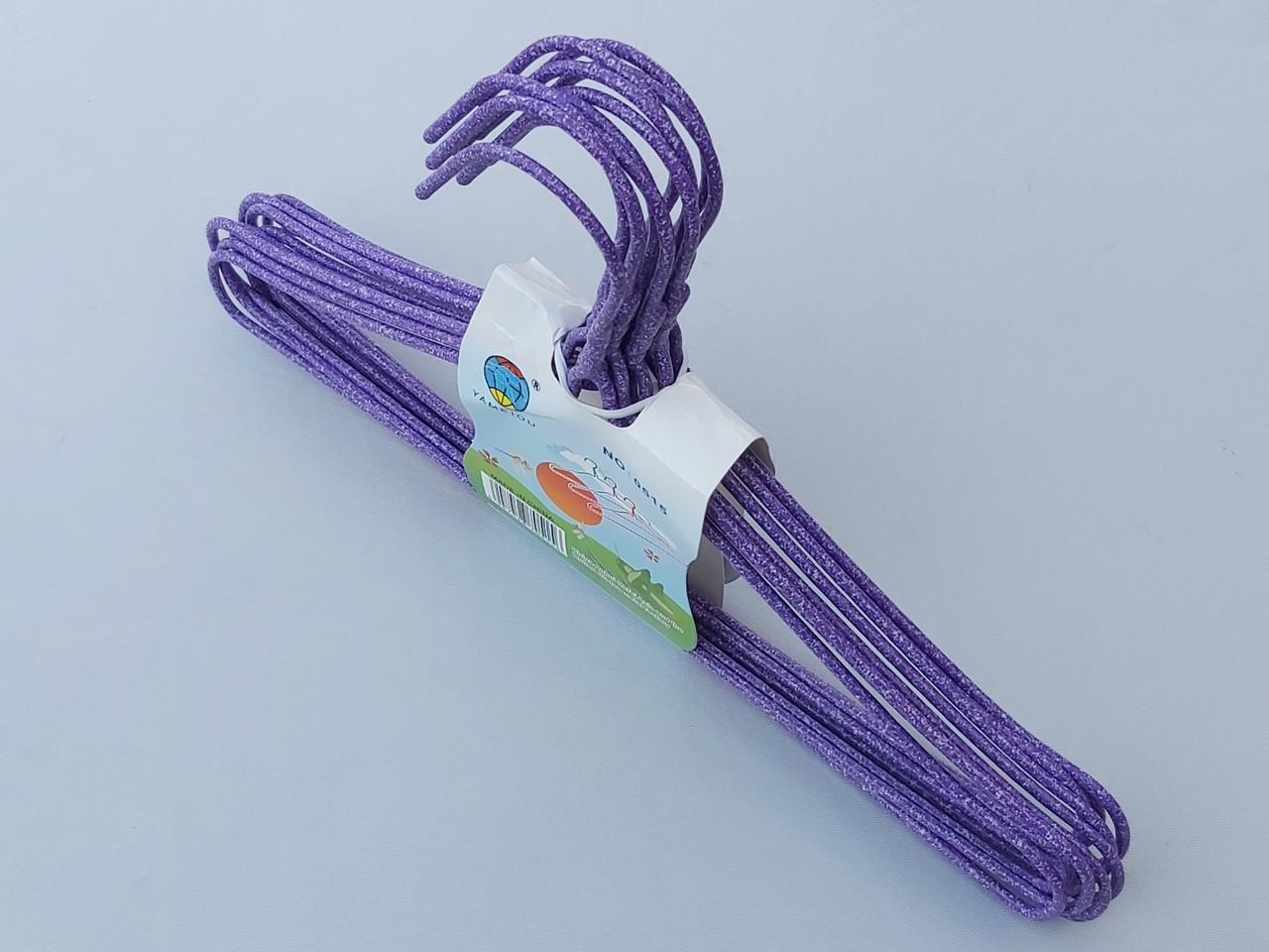 Плічка дитячі дріт в порошкового фарбування фіолетового кольору, довжина 29 см, в упаковці 10 штук