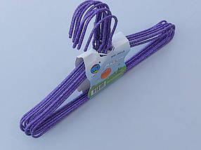 Плічка дитячі дріт в порошкового фарбування фіолетового кольору, довжина 29 см, в упаковці 10 штук, фото 3