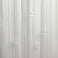 Шторы  нити белые с  белыми  квадратным стеклярусом 1+1