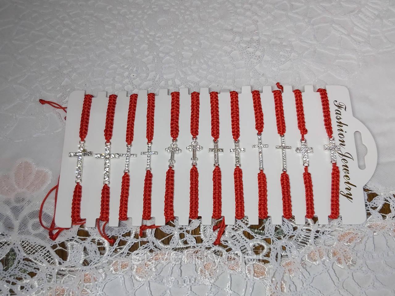 Браслет оберег красная нить с разными крестами в упаковке