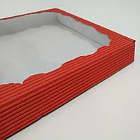 Коробка для пряників, подарунків без ложемента червона 200х200х30 мм.