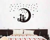 Інтер'єрна наліпка на стіну Коти Парочка / Интерьерная наклейка на стену Коты Парочка JM8256