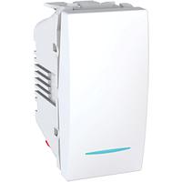 Выключатель проходной 1-кл. c подсветкой, 1 модуль, белый, Unica MGU3.103.18N Schneider