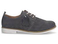 Мужские туфли серого цвета из натуральной кожи!