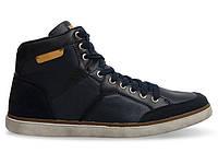 Мужские кроссовки синего цвета из натуральной кожи!