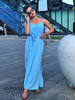 Длинное прямое платье - майка под пояс на бретельках 17ty3331