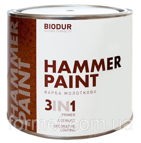 Краска Biodur  серебристо-серая молотковая 2,1л, фото 2