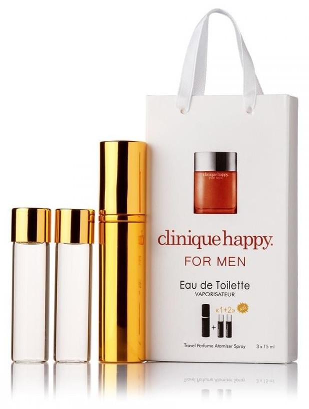 Подарочный набор Clinique Happy for Men edt 3X15 ml, мужская туалетная вода!