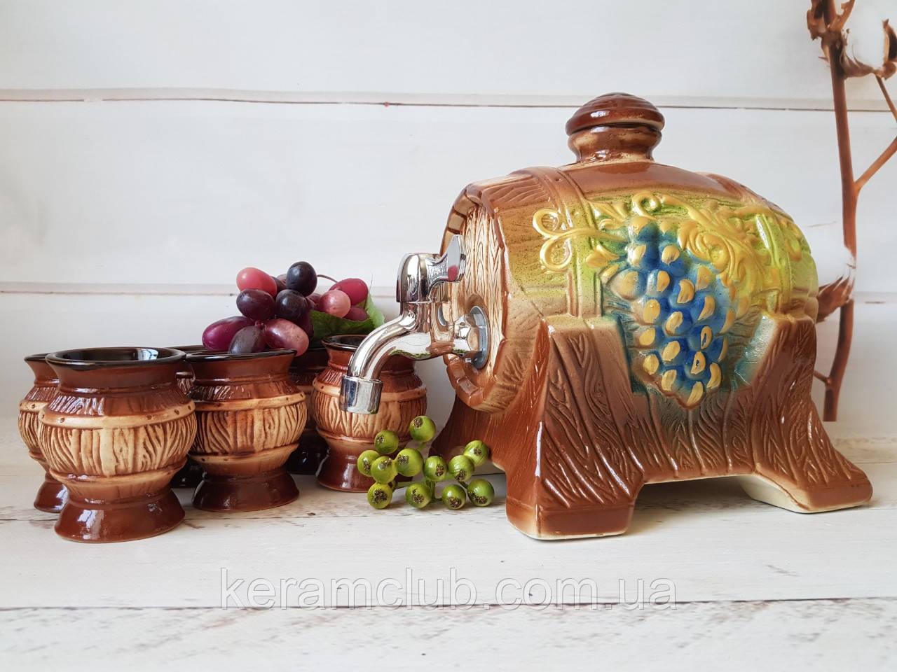 Керамический бочонок для вина и 6 бокалов