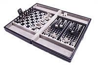 Набор 3 в 1 в кожаном кейсе: шахматы, шашки, нарды., фото 1