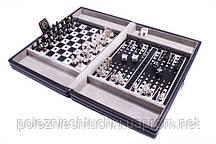 Набор 3 в 1 в кожаном кейсе: шахматы, шашки, нарды.