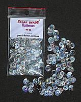 Пайетки круглые. Цвет - серебро с голограммой (тиснение), Ø - 6 мм, уп/5 грамм. №93, фото 1