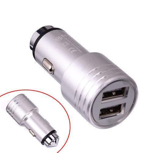 Автомобильное зарядное устройство 2x USB 2.4А металл в прикуриватель