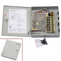 Блок питания в металлическом ящике для камер CCTV, 9-кан 12В 10А 120Вт